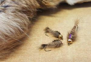 So sehen die fertigen Nymphen in verschiedenen Varianten aus: Flashback, Goldkopf und unbeschwert.